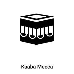 Kaaba Mecca icon vector isolated on white background, logo concept of Kaaba Mecca sign on transparent background, black filled symbol