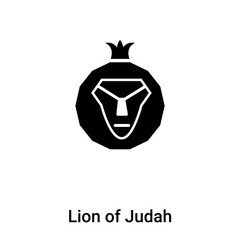 Lion of Judah icon vector isolated on white background, logo concept of Lion of Judah sign on transparent background, black filled symbol