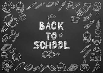 Back to school. Drawing with chalk. Black board. School elements. Hand drawing