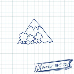 Style of children's drawing. Doodle drawing on a sheet of notebook. Mountain. Contour