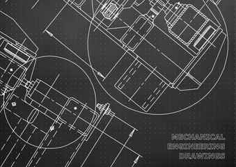 Mechanical Engineering drawing. Blueprints. Mechanics. Cover. Engineering design, instrumentation. Black background. Points