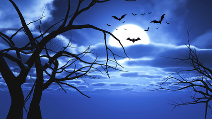Fototapete - 3D Halloween landscape with bats and tree silhouettes