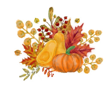 Pumpkin, Butternut Squash, and Autumn Leaves Arrangement. Watercolor Autumnal Vignette Isolated on White for Print, Card, Invitation, Poster, and other Printable Decoration.