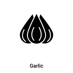 Garlic icon vector isolated on white background, logo concept of Garlic sign on transparent background, black filled symbol