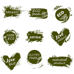 I love organic. Set of logos, icons, design elements. Doodle logos. Natural food, organic food, veggie food. Healthy food label. Hand draw