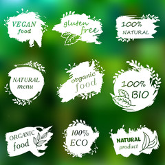 I love organic. Set of logos, icons, design elements. Doodle logos. Natural food, organic food, veggie food. Healthy food label. Hand drawing. Bio