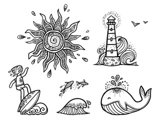 Ornate sun, surfer on wave, fishes, whale and lighthouse line art vector designs surfing stickers set.