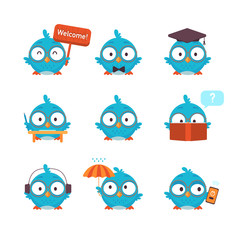 Bird Cartoon Icons Set