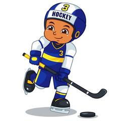 Ice Hokey Player Boy Ready To Shoot