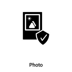 Photo icon vector isolated on white background, logo concept of Photo sign on transparent background, black filled symbol