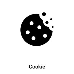 Cookie icon vector isolated on white background, logo concept of Cookie sign on transparent background, black filled symbol