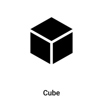 Cube icon vector isolated on white background, logo concept of Cube sign on transparent background, black filled symbol