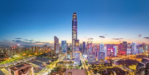 Shenzhen City Skyline Panorama / Futian CBD Night Scene
