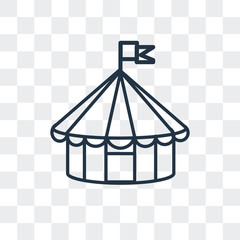 circus tent icon isolated on transparent background. Modern and editable circus tent icon. Simple icons vector illustration.
