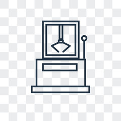 claw machine icon isolated on transparent background. Modern and editable claw machine icon. Simple icons vector illustration.