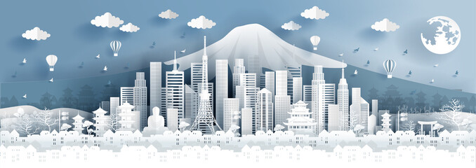 Panorama postcard of world famous landmarks of Tokyo city, Japan in paper cut style vector illustration Fototapete