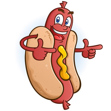 Hot Dog Cartoon Character Pointing Both Fingers