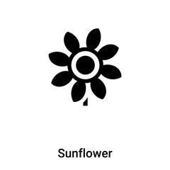 Sunflower icon vector isolated on white background, logo concept of Sunflower sign on transparent background, black filled symbol