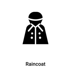 Raincoat icon vector isolated on white background, logo concept of Raincoat sign on transparent background, black filled symbol