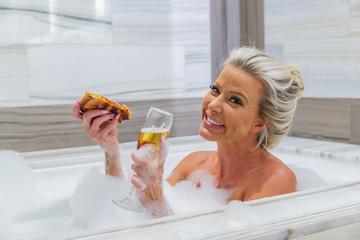 Lovely Blonde Model Preparing To Take A Bath
