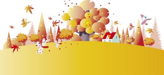 Prin秋の日の丘の風景t