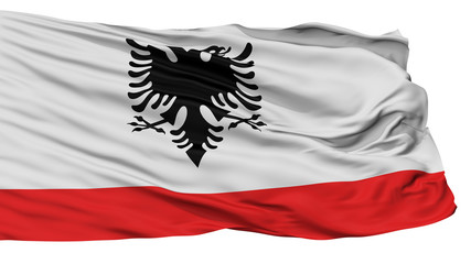 Albania Naval Ensign Flag, Isolated On White Background, 3D Rendering