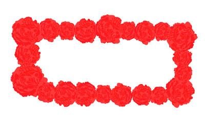 Vector Rectangular Frame of Red Roses
