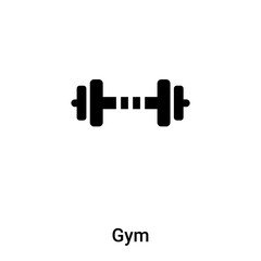 Gym icon vector isolated on white background, logo concept of Gym sign on transparent background, black filled symbol