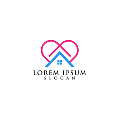 logo design home love, abstract health illustration real estate building