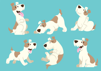 Fototapeta jack russel terrier dog cartoon set obraz