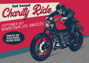 old style motorcycle event poster