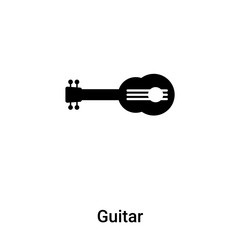 Guitar icon vector isolated on white background, logo concept of Guitar sign on transparent background, black filled symbol