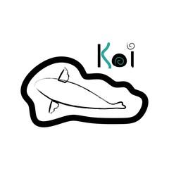 Koi logo japan fish japanese symbol background illustration vector stock