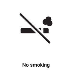 No smoking icon vector isolated on white background, logo concept of No smoking sign on transparent background, black filled symbol