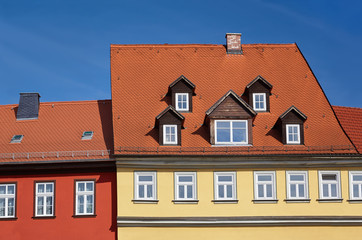 Close-up on historical timber houses in Erfurt, Thuringia, Germany
