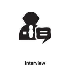 Interview icon vector isolated on white background, logo concept of Interview sign on transparent background, black filled symbol