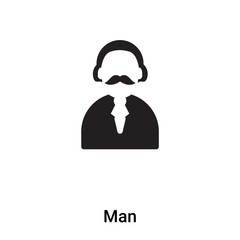 Man icon vector isolated on white background, logo concept of Man sign on transparent background, black filled symbol