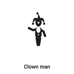 Clown man icon vector isolated on white background, logo concept of Clown man sign on transparent background, black filled symbol