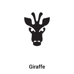 Giraffe icon vector isolated on white background, logo concept of Giraffe sign on transparent background, black filled symbol