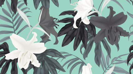 Botanical seamless pattern, black and white lily flowers and leaves on blue background