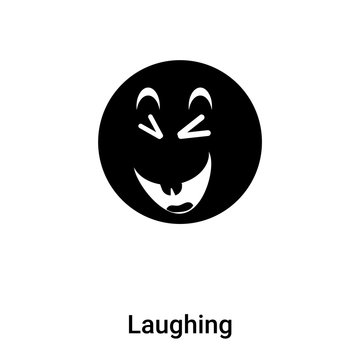 Laughing icon vector isolated on white background, logo concept of Laughing sign on transparent background, black filled symbol