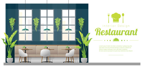 Interior background , modern restaurant with tables and chairs scene , vector , illustration