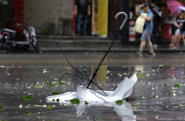 A broken umbrella is pictured in the rainstorm as Typhoon Mangkhut approaches in Shenzhen