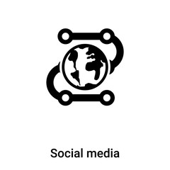 Social media icon vector isolated on white background, logo concept of Social media sign on transparent background, black filled symbol