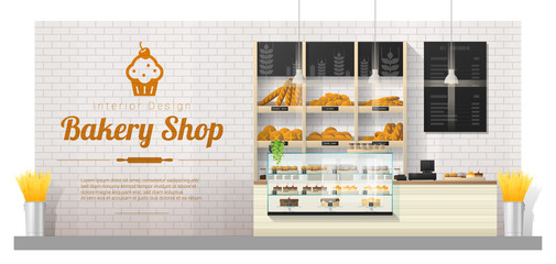 Interior background with modern bakery shop display counter , vector , illustration