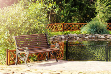 Art bench in the morning in an English park