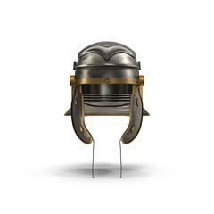 Roman Centurion Helmet on white. Front view. 3D illustration