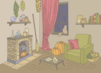 Witch living room graphic color home interior sketch illustration vector