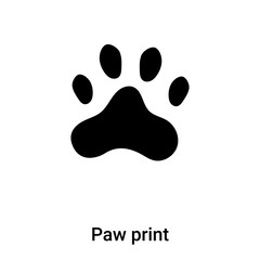 Paw print icon vector isolated on white background, logo concept of Paw print sign on transparent background, black filled symbol