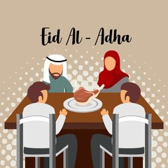 Gather On Eid Al-Adha Illustration